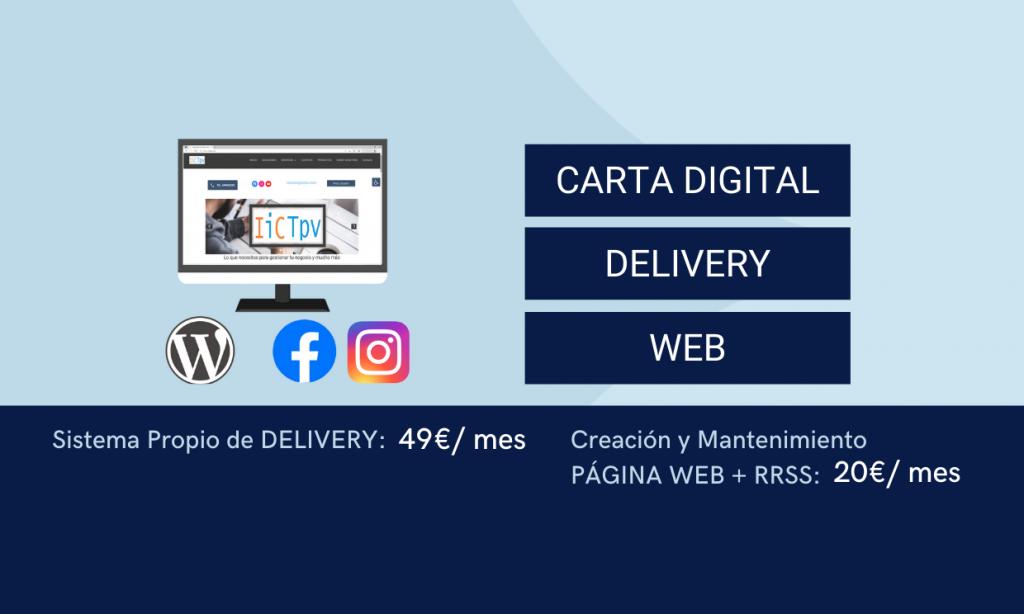 Carta Digital + Delivery + Web + RRSS = 69€/mes